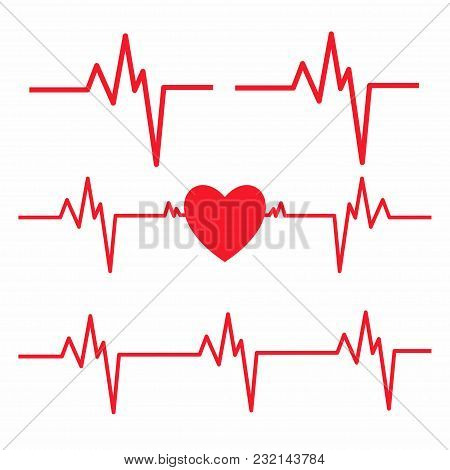 Heartbeat Line Isolated On White Background. Heart Cardiogram Icon. Vector
