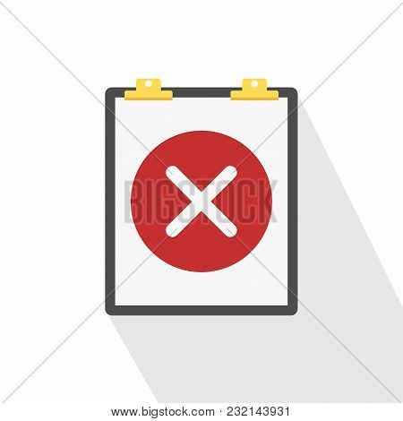 Clipboard And Round Icon With Cross. Unfulfilled Task. Checklist Icon. Vector