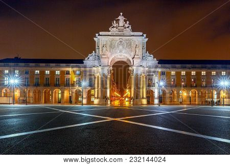 Commerce Square In Lisbon In The Night Illumination. Portugal.