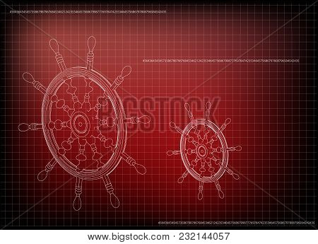 3d Model Of The Wheel On A Red Background. Drawing