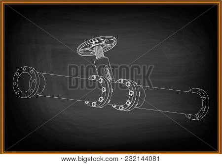 3d Model Of An Pipeline On A Black Background. Drawing