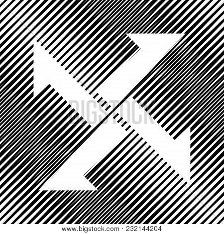 Cross From Arrows Icon. Vector. Icon. Hole In Moire Background.
