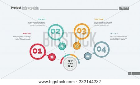 Four Steps Process Chart Slide Template. Business Data. Review, Diagram, Design. Creative Concept Fo