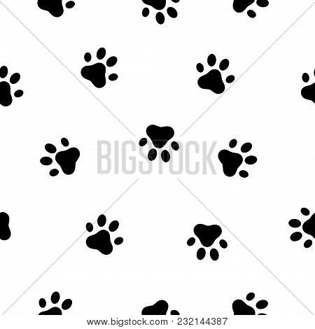 Dog And Cat Paw Seamless Pattern. Animals Paw Print. Vector