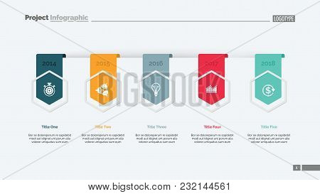 Timing Chart With Five Elements. Diagram, Graph, Template. Business Data. Creative Concept For Infog