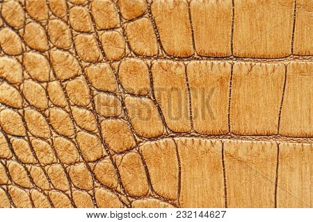 Genuine Leather Texture With Imitation Of Exotic Reptile, Light Orange Brown Matte Surface, Trendy B