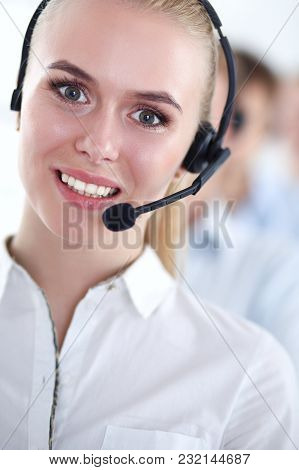 Attractive Positive Young Businesspeople And Colleagues In A Call Center Office. Businesspeople.