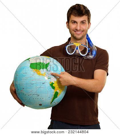 Man With Snorkel Holding Globe On White Background