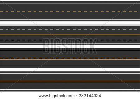 Horizontal Seamless Roads. Set Of Asphalt Road With Markings. Straight Highway. Vector