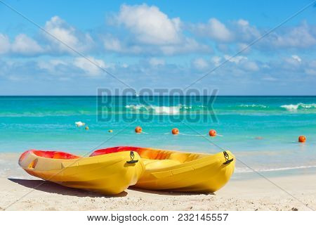 Kayaks At The Beach Of Varadero In Cuba