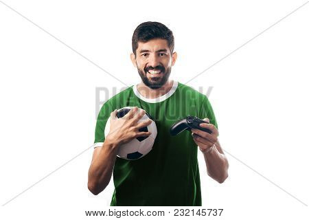 Football Or Soccer Fan Wearing Green Uniform And Holding A Ball And A Joystick On White Background