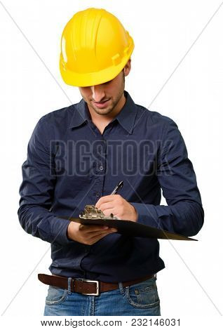 Portrait Of Architect Writing On Clipboard Isolated On White Background