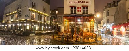 Paris , France- March 17, 2018: The Panoramic View Of Typical Parisian Cafes Le Consulat And La Bonn