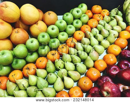 Fresh Mixed Fruit Superfood Background With Fruits High In Antioxidants, Vitamin C
