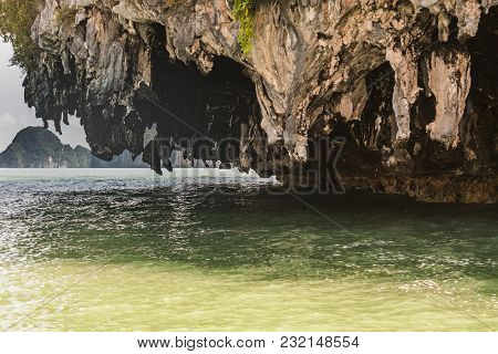 Detail Of Calcareous Rock Formations Eroded By The Sea On An Island In The Phang Nga Bay Thailand