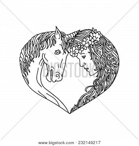 Drawing Sketch Style Illustration Of A Unicorn, A Legendary Horse Creature With One Horn And Princes
