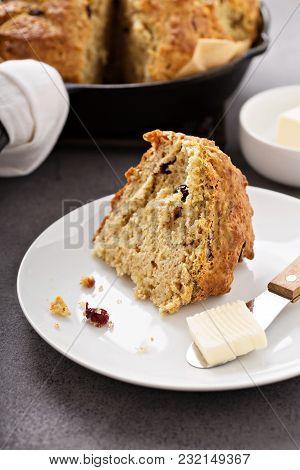 Irish Soda Bread In Cast Iron Pan, Traditional Irish Recipe