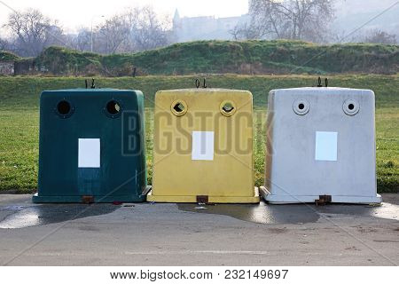 Three Plastic Containers For Recycling And Sorting Waste