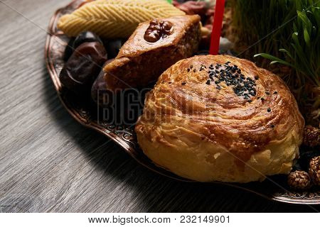 Shekerbura, Pakhlava And Gogal Pastry, With Dry Fruits On Novruz Tray With Semeni,  Azerbaijan Natio