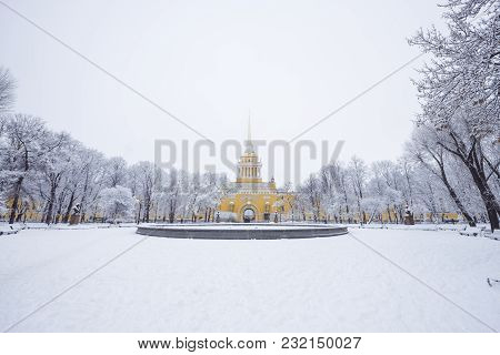 St. Petersburg, The Admiralty Building, Admiralty Building At Snowy Day