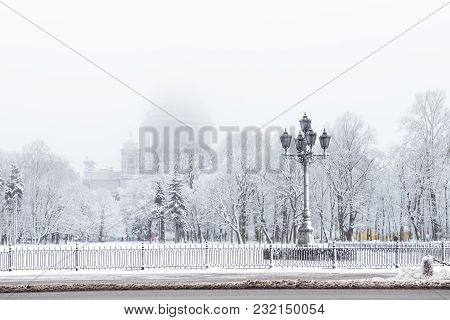 Saint Isaac's Cathedral In St. Petersburg, Russia On A Snowy Winters Day.