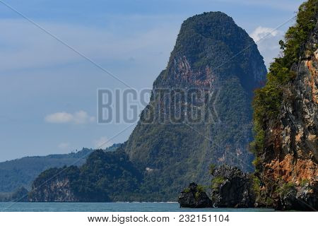 Islets Of The Phang Nga Bay With Its Rock Formations And High-rise Mountains Andaman Sea Thailand