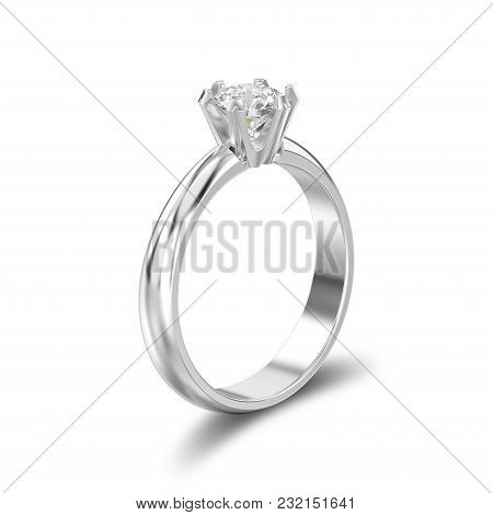 3d Illustration Isolated White Gold Or Silver Traditional Solitaire Engagement Diamond Ring With Sha