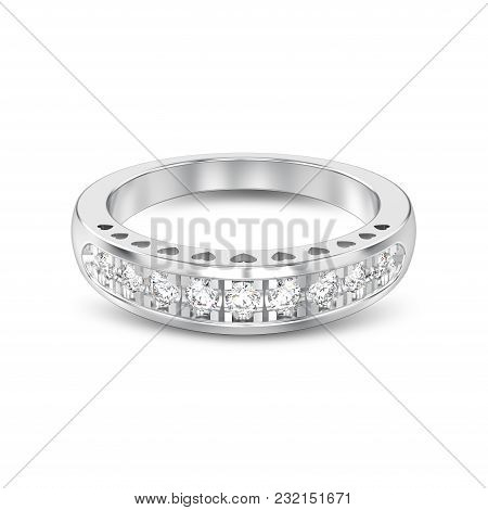 3d Illustration Isolated White Gold Or Silver Decorative Diamond Ring With Hearts Ornament With Shad