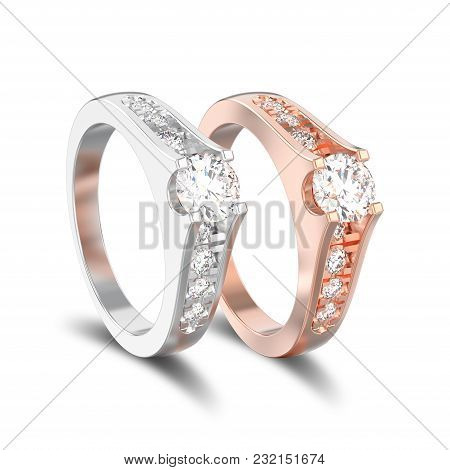 3d Illustration Isolated Two Different Gold Or Silver Decorative Engagement Wedding Diamond Ring Wit