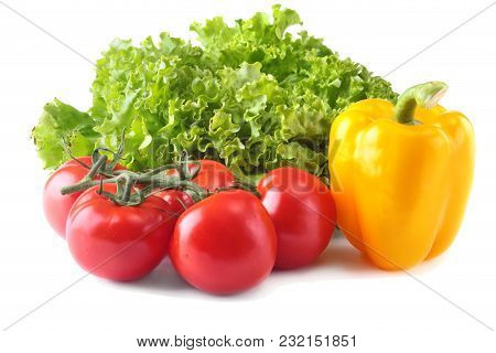 Fresh Assorted Vegetables Bell Pepper, Tomato, Garlic With Leaf Lettuce. Isolated On White Backgroun