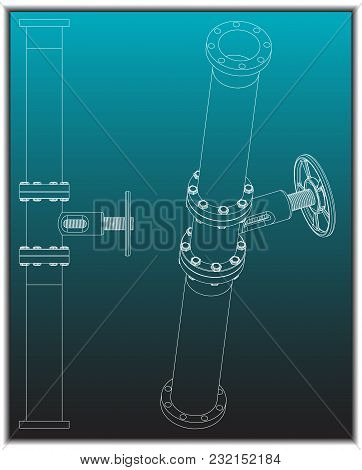 3d Model Of An Pipeline On A Turquoise Background. Drawing