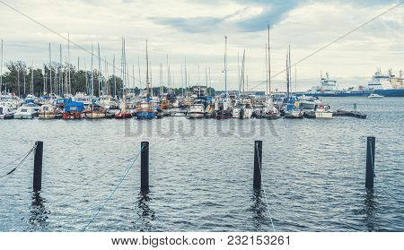 Powerboats And Yachts Moored In The Harbor, Helsinki, Finland