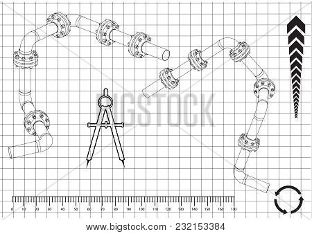 3d Model Of An Pipeline On A White Background. Drawing