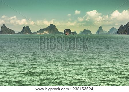 Panorama Of The Andaman Sea And Islets Of The Bay Of Phang Nga With Boats Thailand