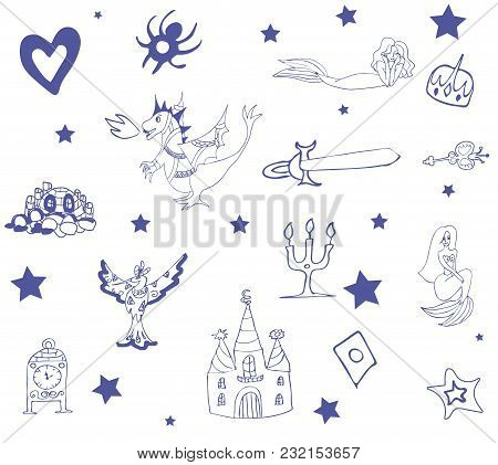 Pattern For Children With Fairy Tale Colorful Characters In Blue And White Tones