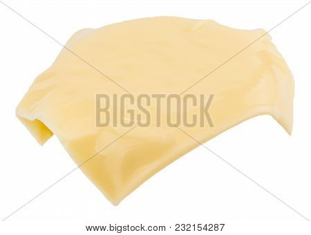 The Slice Of Cheese Isolated On White