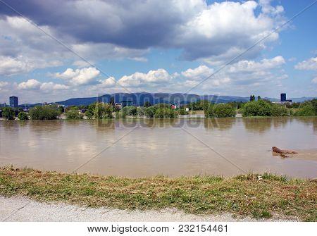 High Water Level Of The River Sava In Zagreb, Croatia