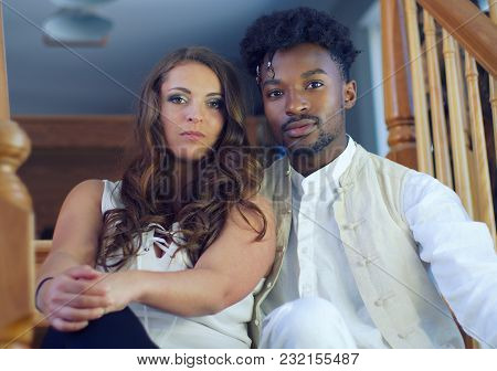 Young Interracial Couple Man And Women Portrait