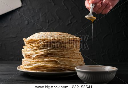 Homemade Pancakes With Honey And Walnuts, Vintage White Plate, Dipper, Dark Wooden Table