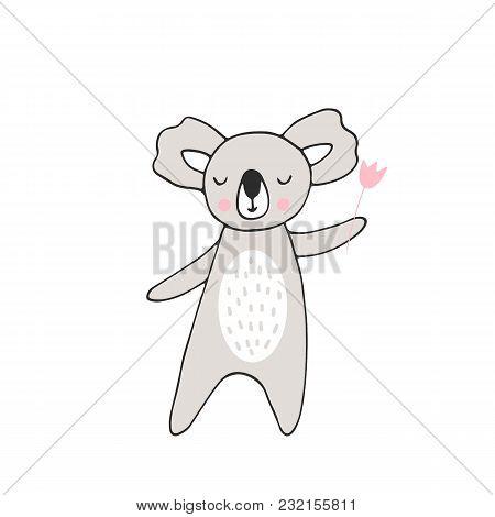 Hand Drawn Nursery Birthday Poster With Animal In Scandinavian Style. Monochrome Kids Vector Illustr