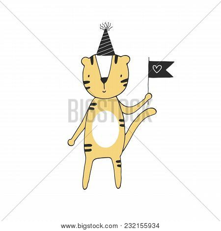 Hand Drawn Nursery Birthday Poster With Tiger In Scandinavian Style. Monochrome Kids Vector Illustra