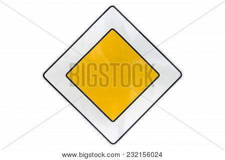 Road Sign 'priority Road' Isolated On White