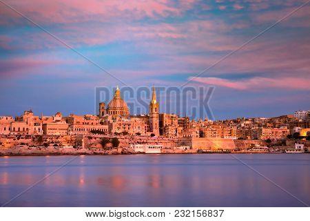 Valletta Skyline From Sliema At Sunset, Malta