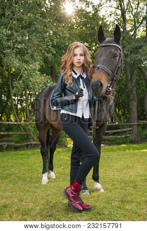 Girl Teenager With A Horse