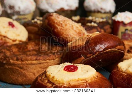 Homemade Russian Easter Baked Goods, Kulichi, Patties With Cottage Cheese, Karavai And Loaf Cake Wit