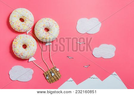 Creative Food Minimalism, Donut In Shape Of Aerostat In Pink Sky With Clouds, Mountains, Top View, C