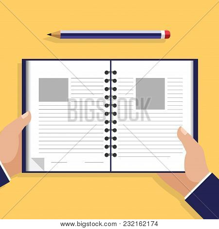 Businessman Read Note In A Notebook, Pencil Mark, Read A Contract. Pictured In Style Of Flat Design.