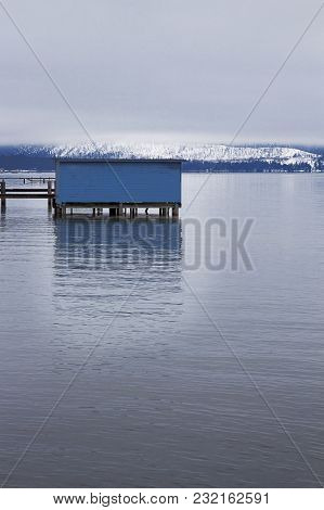A Blue Boathouse On Lake Tahoe From The Thomas F Regan Memornial City Beach In South Lake Tahoe, Cal