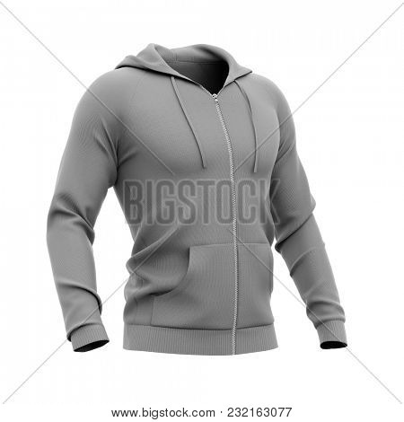 Men's zip-up hoodie. Sweatshirt with pockets. Half-front view. 3d rendering. Clipping paths included: whole object, hood, sleeve, zipper, rope tie. Isolated on white background.