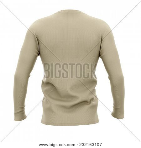 Men's v-neck t shirt with long sleeves. Back view. 3d rendering. Clipping paths included: whole object, collar, sleeve.